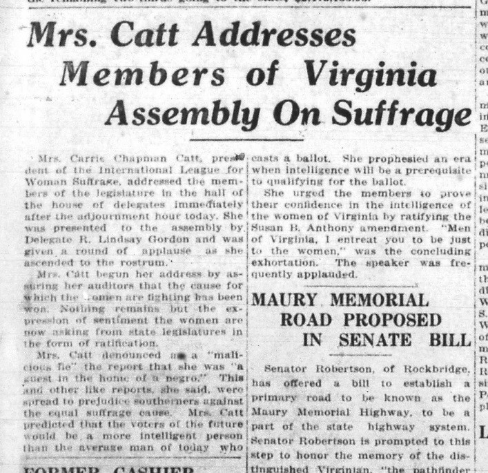 Text Box: Anti-suffragists hoped this leaflet would show that suffragists supported racial equality and thereby threatened white supremacy. Equal Suffrage League of Virginia Records, Library of Virginia.