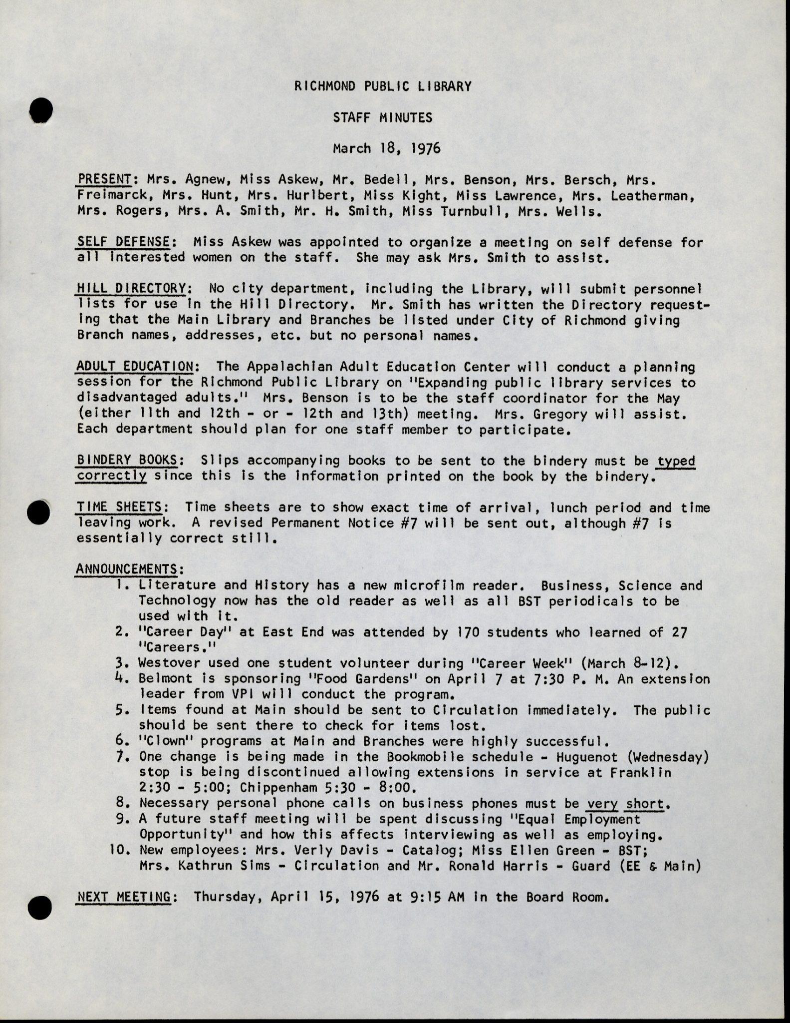 RPL Staff Minutes