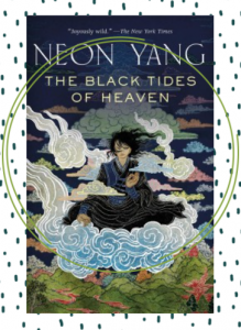 The cover for the novella The Black Tides of Heaven featuring a gorgeous illustration of a person floating in the clouds.