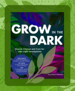The book cover for Grow in the Dark featuring purple, green, and blue plant leaves.