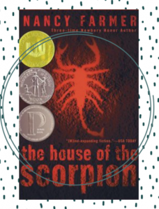 The cover for The House of the Scorpion featuring a red silhouette of a scorpion.
