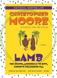 The cover of the novel Lamb featuring two men in brown robes walking into the distance with a yellow background.