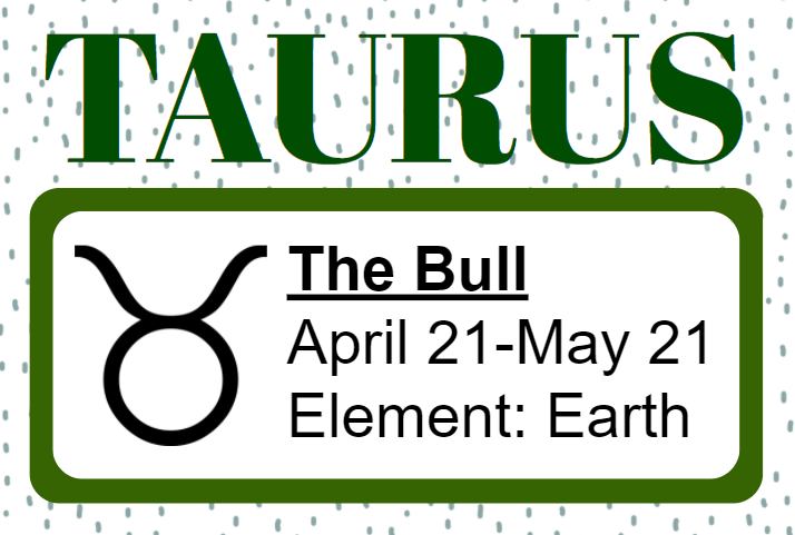 Taurus, The Bull, dates April 21 to May 21, element earth