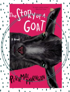 The cover of the book The Story of a Goat showing a black goat's face sideways on a pink background.
